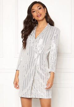 Chiara Forthi Celebrity sequin blazer dress White / Silver Bubbleroom.dk