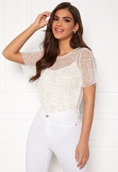 Chiara Forthi Chrystal sequined top Light offwhite Bubbleroom.dk