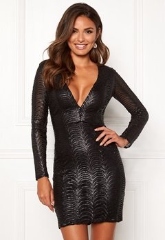 Chiara Forthi Demi deep v-neck sequin dress Black Bubbleroom.dk