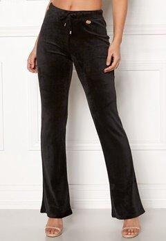 Chiara Forthi Elvira velour bootcut pants Black Bubbleroom.dk