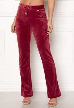 Chiara Forthi Elvira velour bootcut pants Wine-red Bubbleroom.dk