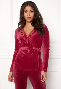 Chiara Forthi Elvira velour wrap top Wine-red Bubbleroom.dk