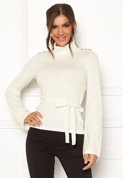 Chiara Forthi Gaby fine knitted tie sweater Offwhite Bubbleroom.dk