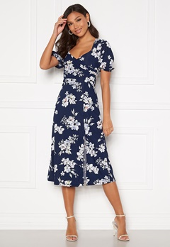 Chiara Forthi Giulia Puff Sleeve Dress Navy / Floral Bubbleroom.dk