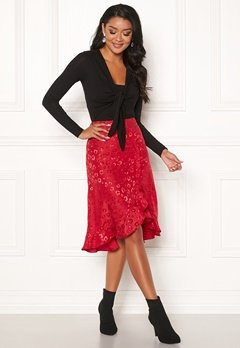 Chiara Forthi Leila Flounce Buttoned Skirt Red Bubbleroom.dk