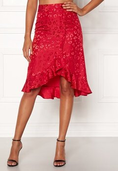 Chiara Forthi Leila Flounce Buttoned Skirt Red Bubbleroom.dk