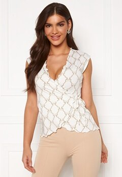 Chiara Forthi Lily Frill Wrap Blouse Offwhite / Gold Bubbleroom.dk