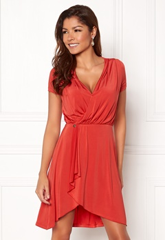Chiara Forthi Malvina Draped Short Dress Red Bubbleroom.dk