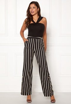 Chiara Forthi Martirir buttoned wide pants Black / Striped Bubbleroom.dk