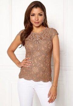 Chiara Forthi Michelle Lace Top Light nougat Bubbleroom.dk