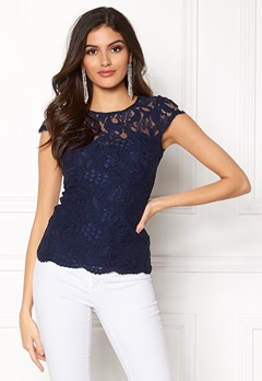 Chiara Forthi Michelle Lace Top Navy Bubbleroom.dk