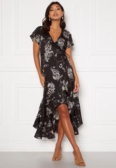 Chiara Forthi Nadine wrap flounce dress Black / Patterned Bubbleroom.dk