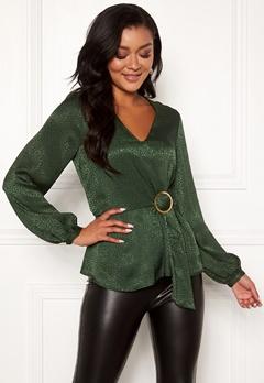 Chiara Forthi Noemi buckle wrap blouse Emerald green Bubbleroom.dk