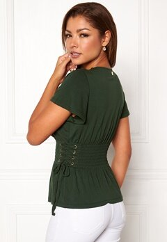 Chiara Forthi Palermo lace-up smock top Emerald green Bubbleroom.dk