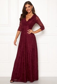 Chiara Forthi Riveria Lace Gown Wine-red Bubbleroom.dk