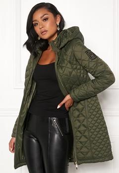Chiara Forthi Sarraceno Quilted Fur Jacket Khaki green Bubbleroom.dk