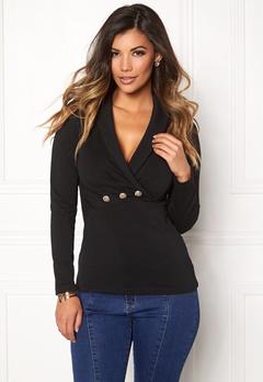 Chiara Forthi Shawl Collar Bodycon Sweatshirt Black Bubbleroom.dk
