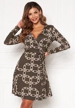 Chiara Forthi Sonnet Mini Wrap Dress Black / Patterned Bubbleroom.dk