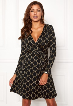Chiara Forthi Sonnet Mini Wrap Dress Black Bubbleroom.dk