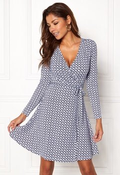 Chiara Forthi Sonnet Mini Wrap Dress Blue / White Bubbleroom.dk