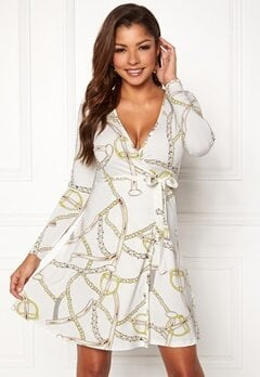 Chiara Forthi Sonnet Mini Wrap Dress Offwhite / Patterned Bubbleroom.dk