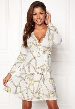 Chiara Forthi Sonnet Mini Wrap Dress Offwhite / Patterned Bubbleroom.dk