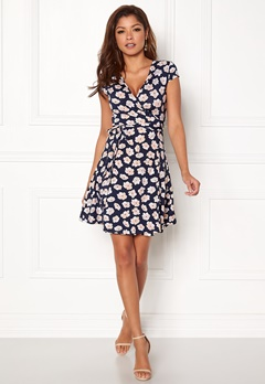 Chiara Forthi Sonnet Mini Wrap Dress s/s Dark blue / Floral Bubbleroom.dk