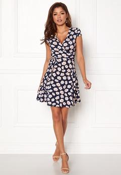 Chiara Forthi Sonnet Mini Wrap Dress s/s Dark blue / Floral Bubbleroom.dk