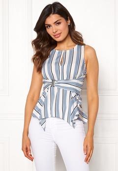 Chiara Forthi Suzette Wrap Top Striped / Offwhite / Blue Bubbleroom.dk