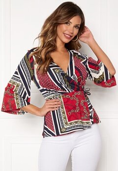 Chiara Forthi Tamara wrap top Dark blue / Red / Patterned Bubbleroom.dk
