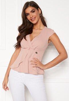 Chiara Forthi Tiziana cap sleeve wrap top Dusty pink Bubbleroom.dk