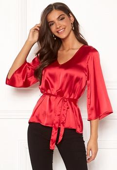 Chiara Forthi Turin tie belt blouse Red Bubbleroom.dk