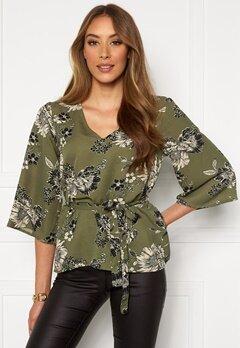 Chiara Forthi Turin tie belt blouse Khaki green / Floral Bubbleroom.dk