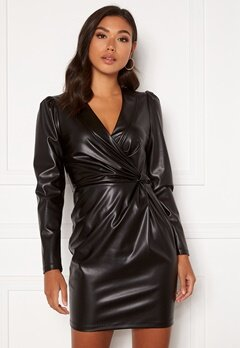 Chiara Forthi Vanni draped faux leather dress Black Bubbleroom.dk