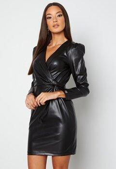 Chiara Forthi Vanni draped faux leather dress Black bubbleroom.dk