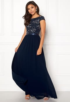 Chiara Forthi Viviere Sparkling Gown Midnight blue Bubbleroom.dk