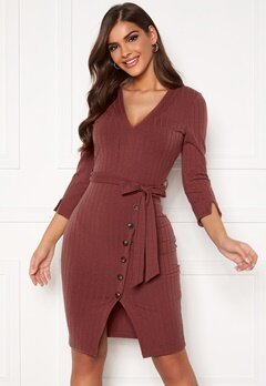Chiara Forthi Maysie buttoned dress Dark heather pink Bubbleroom.dk