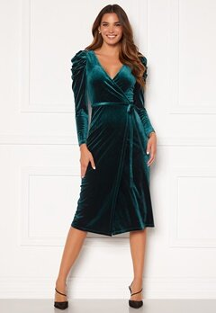 Chiara Forthi Laury puff sleeve wrap dress Green Bubbleroom.dk