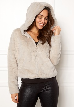 ONLY Chris Fur Hooded Jacket Pumice Stone Bubbleroom.dk
