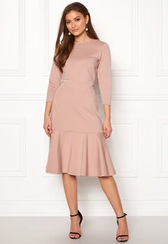 Closet London Long Sleeve Peplum Dress Nude Bubbleroom.dk