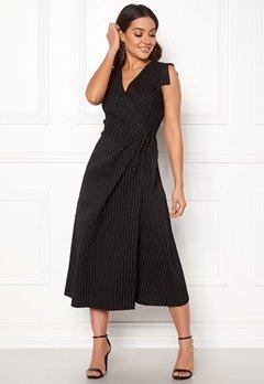 Closet London Wrap Front Midi Dress Black Stripe Bubbleroom.dk