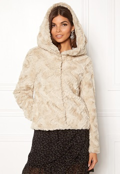 VERO MODA Curl Hoody Faux Fur Short Oatmeal Bubbleroom.dk
