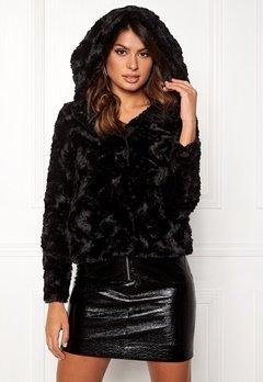 VERO MODA Curl Hoody Faux Fur Short Black Bubbleroom.dk