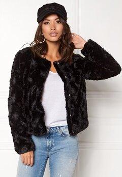VERO MODA Curl Short Fake Fur Jacket Black Bubbleroom.dk