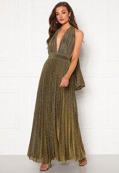 Goddiva Deep V Neck Glitter Dress Gold Bubbleroom.dk