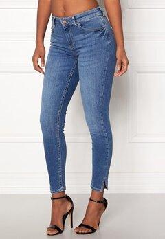 Pieces Delly Crop Slit Jeans Medium Blue Denim Bubbleroom.dk
