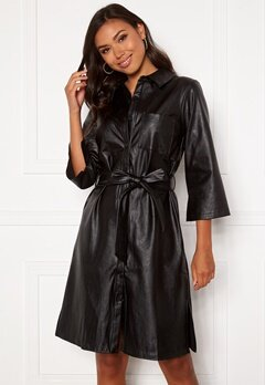DRY LAKE Gullis Dress 027 Black Faux Leath Bubbleroom.dk