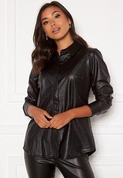 DRY LAKE Lykke Oversized Shirt 027 Black Faux Leath Bubbleroom.dk