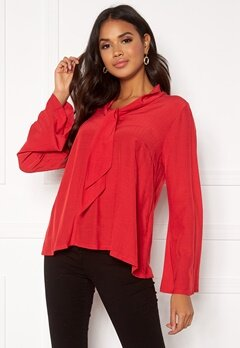 DRY LAKE Malley Blouse 600 Red Bubbleroom.dk