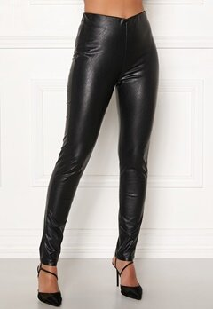 DRY LAKE Sansa Trousers 027 Black Faux Leat Bubbleroom.dk